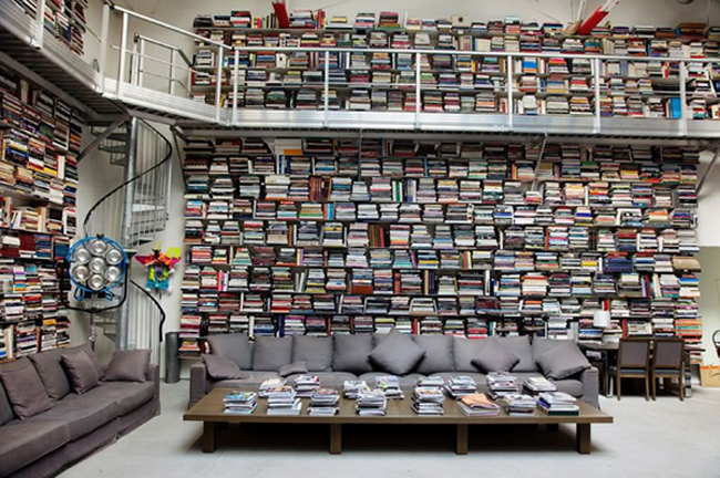 a picture of karl lagerfeld's library