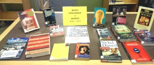 Some of the books in the MA library which have been challenged or banned elsewhere.