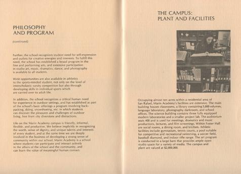 Admissions brochure, 1973-1974