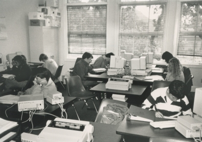 Working on computers, 1986.